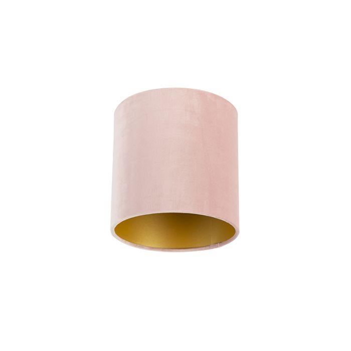 Klosz-welurowy-do-lampy-20/20/20-stary-róż---złoto