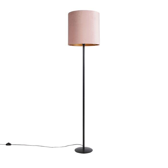Czarna-lampa-podłogowa-z-welurowym-kloszem-różowo-złotym-40-cm---Simplo