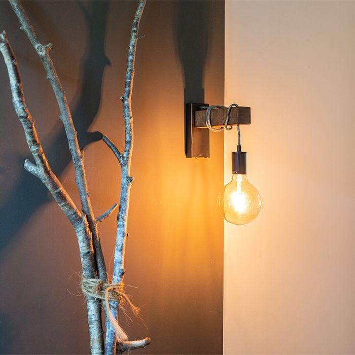 Przemysłowa-lampa-ścienna-czarna-z-drewnem---Gallow