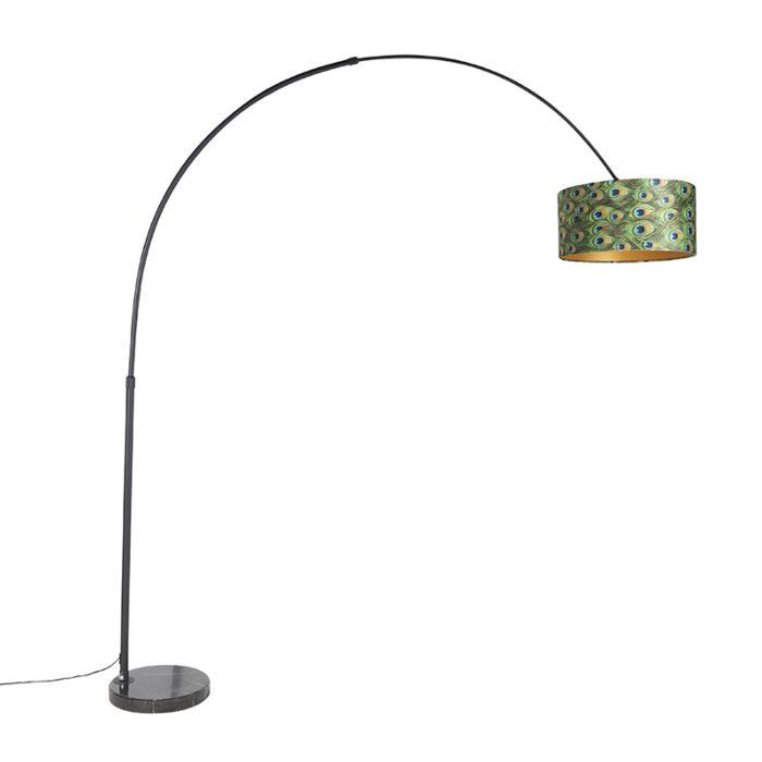 Lampa-podłogowa-łuk-czarna-klosz-welurowy-pawie-oczka-50cm---XXL