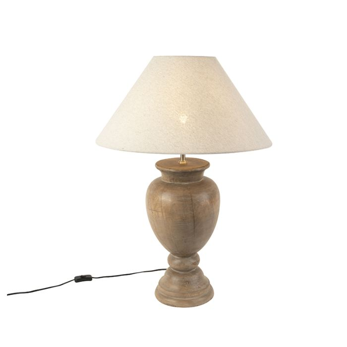 Rustykalna lampa stołowa klosz lniany beżowy 55 cm Clover