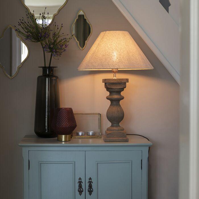 Rustykalna lampa stołowa klosz lniany beżowy 50 cm Hyssop