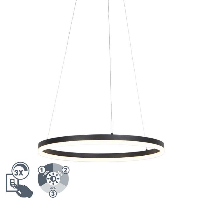 Designerska lampa wisząca czarna 60 cm LED ściemnialna Anello
