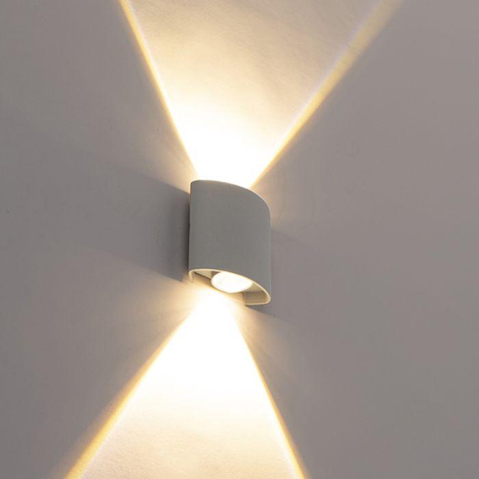 Designerski-kinkiet-zewnętrzny-srebrny-LED-2-źródła-światła---Silly