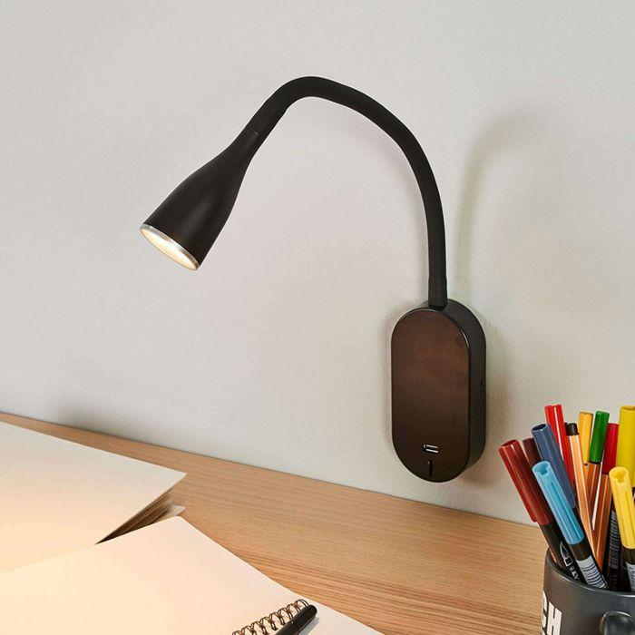 Nowoczesna-czarna-kinkiet-z-portem-USB,-w-tym-LED---Enna