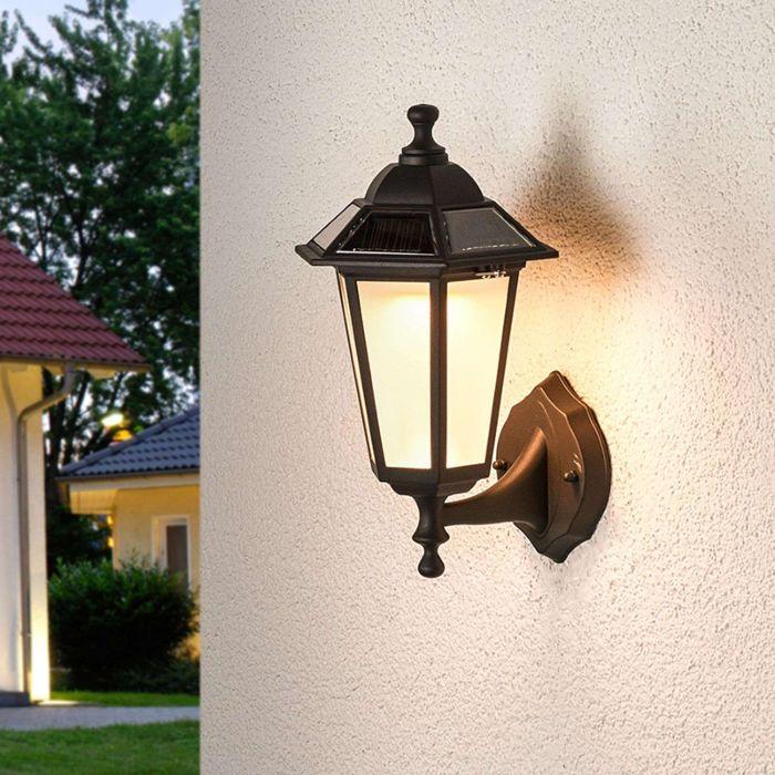 Klasyczna-lampa-zewnętrzna-czarna-latarnia-w-tym-LED-solarna---Kristin