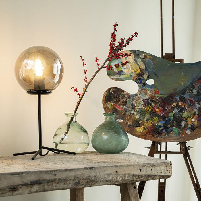 Lampa-stołowa-art-deco-czarna-przydymione-szkło-45,5-cm---Pallon