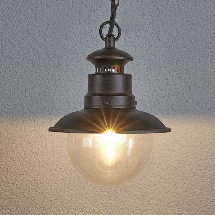 Przemysłowa-okrągła-lampa-wisząca-w-kolorze-brązowym---Eddie