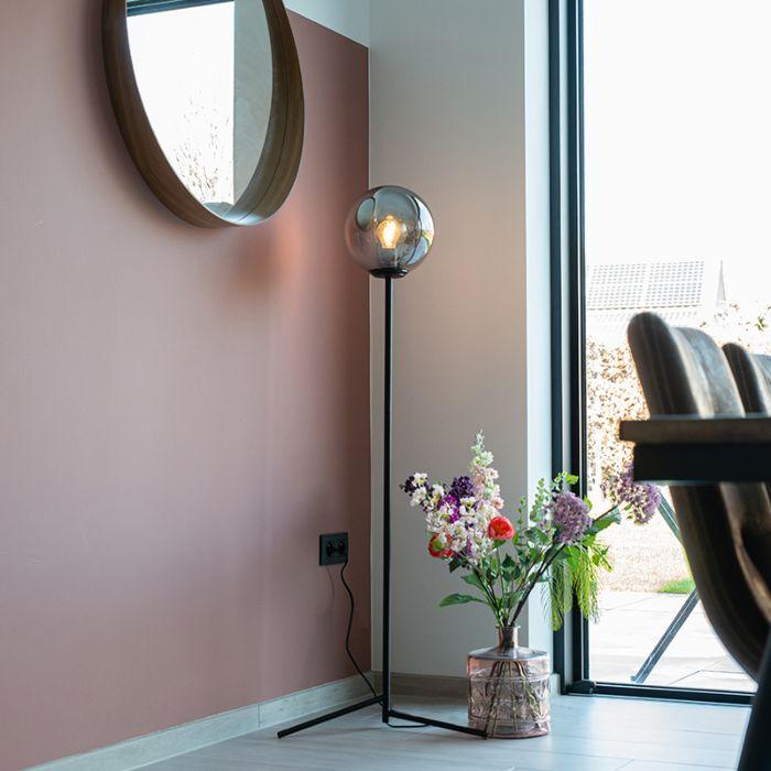 Lampa-podłogowa-art-deco-czarna-przydymione-szkło---Pallon