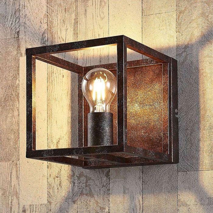 Wiejska-kwadratowa-lampa-ścienna-rdza-brązowy---Klatka