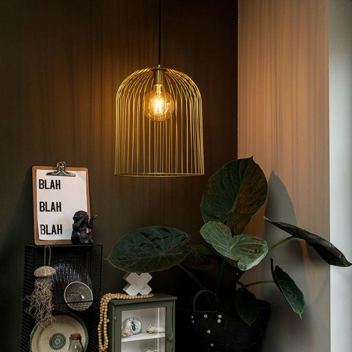 Designerska-lampa-wisząca-złota---Wire-Knock